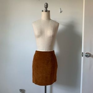 DKNY Suede 100% Leather Mini Skirt
